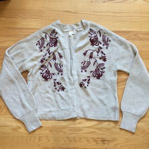 NWOT Anthropologie Moth Embroidered cardigan